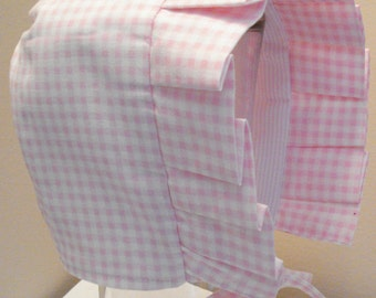 Baby Bonnet- Pink and White Gingham Checks