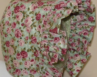 Baby Bonnet- Vintage Petite Rose- Baby Hat- Reversible