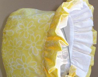 Baby Bonnet- Summer Sunshine- Yellow and White