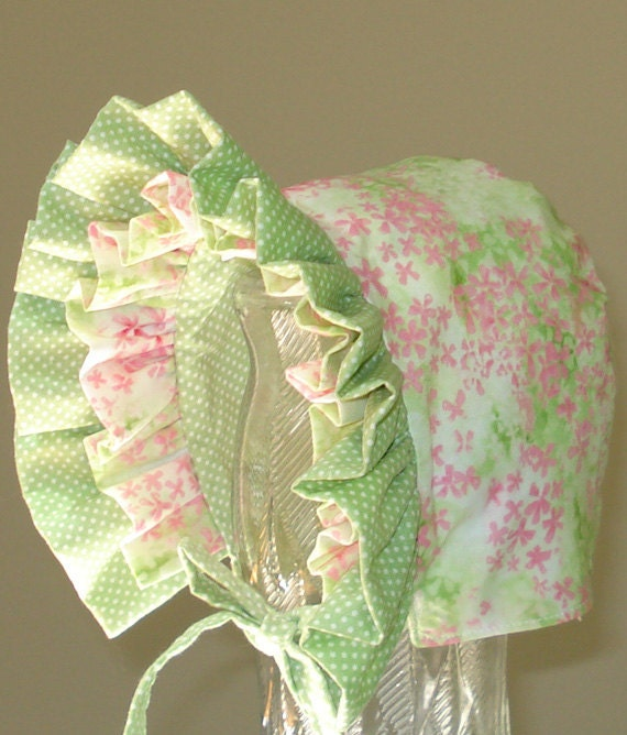 Baby Bonnet- Spring Meadow-Fully Reversible