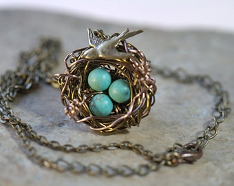 Mothers Personalized Necklace 1-7 eggs Mothers Day gift new Baby Mom bestie Best friends gift Grandmother Sisters bridesmaids, birds nest