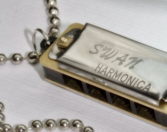 Mini Harmonica necklace. PLAYS. Love of Music and fun. Blues Jazz Rock n Roll, ball chain silver, musician educational Father Dad
