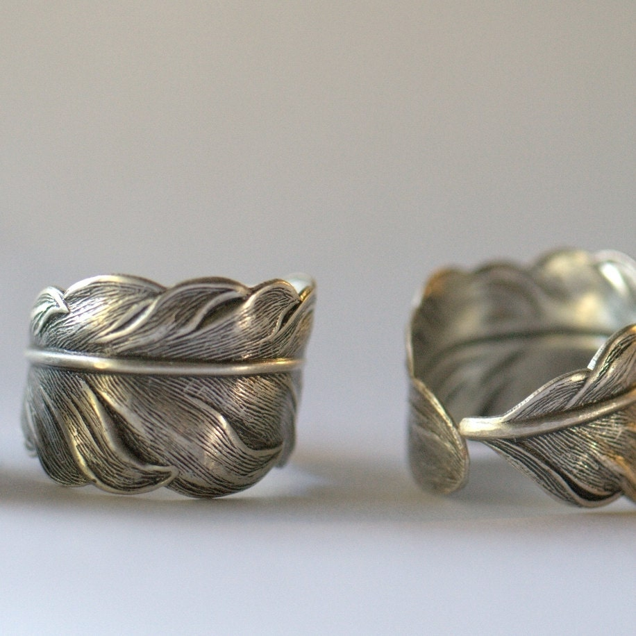unisex feather ring boyfriend girlfriend promise ring wedding