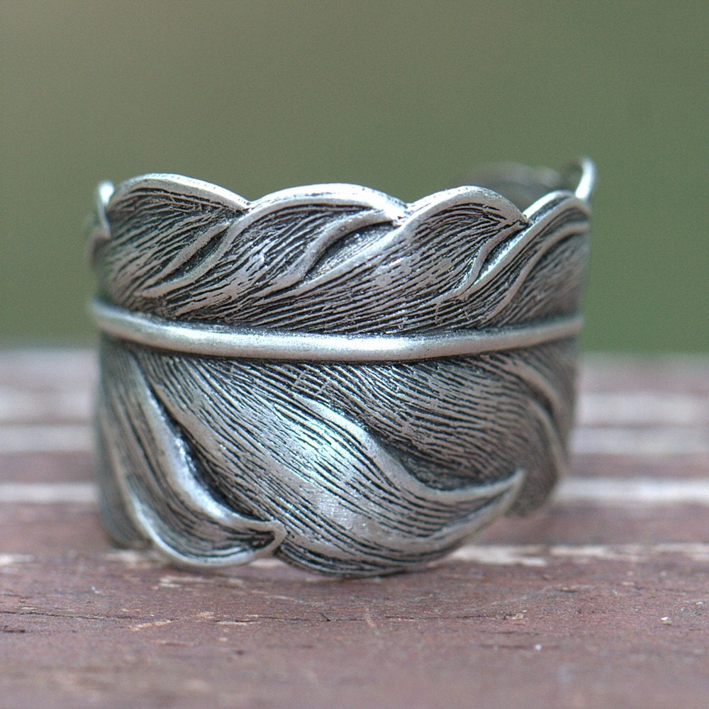 silver feather ring unisex size 4 to 14 feather jewelry