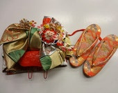 Vintage Young Girl's Silk-blend Tsukuri Obi & Zori set