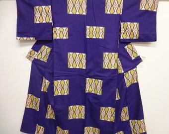 Vintage Silk Meisen Kimono Purple and Yellow