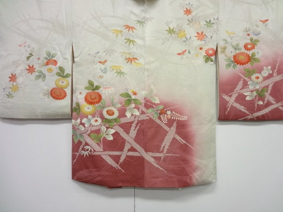 Vintage Silk Kimono Haori Jacket with Dyed Bamboo & Painted Flowers