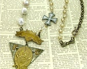 """ANTIQUE Knights of Pythias Medallion Necklace with Iron Cross and Pearls, 26"""""""