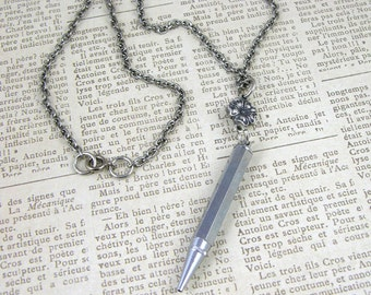 Writer Illustrator Metal Vintage Pencil Pendant Necklace in vintage classic silver