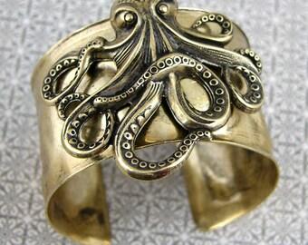 Steampunk Victorian Octopus Cuff Bracelet, Best Seller Hammered Vintage Brass Gold