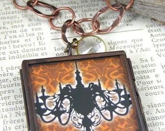 "All Hallows Eerie Chandelier & Wine Glass Locket Pendant Necklace, 18"""