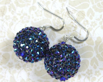 Pave' Crystal Ball Sterling Earrings Dark Sapphire Blue