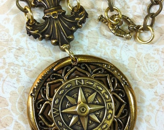"""The Compass Steampunk 24"""" Necklace"""