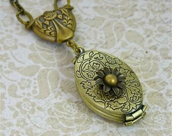 "3D Daisy Flower, 4 Photo Locket Pendant Necklace, Vintage Gold 24"" Necklace"