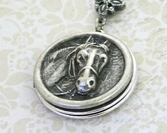 "Cutting Quarter Horse Locket Necklace, 24"" chain"