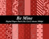 Be Mine Digital Paper Pack (16) 300 dpi 12x12 sheets scrapbooking invitations cards valentines red pink