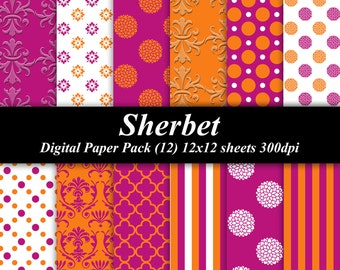 Sherbet Digital Paper Pack (12) 300 dpi 12x12 pink orange white