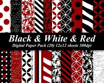 Black and White and Red Digital Paper Pack (20) 300 dpi 12x12 red black white scrapbooking invitations