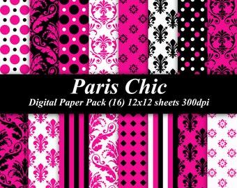 Paris Chic Digital Paper Pack graphics invitations Birthday 16 12x12  pink black white damask polka dots stripes