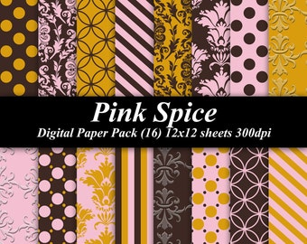 Pink Spice Digital Paper Pack (16) 12x12 sheets 300 dpi scrapbooking invitations wedding brown yellow pink