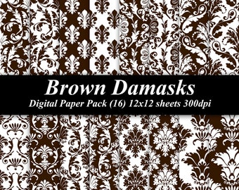 Brown Damasks Digital Paper Pack (16) 12x12 sheets 300 dpi scrapbooking invitations wedding
