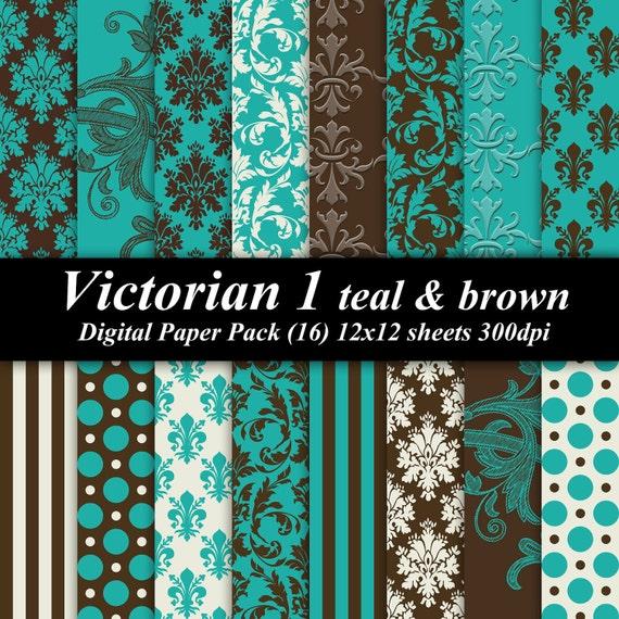 Victorian 1 teal brown Digital Paper Pack  scrapbooking 16 12x12 brown teal cream invitations