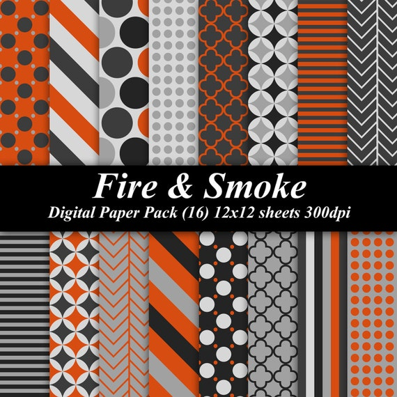 Fire and Smoke Digital Paper Pack (16) 12x12 sheets 300 dpi scrapbooking invitations gray grey orange