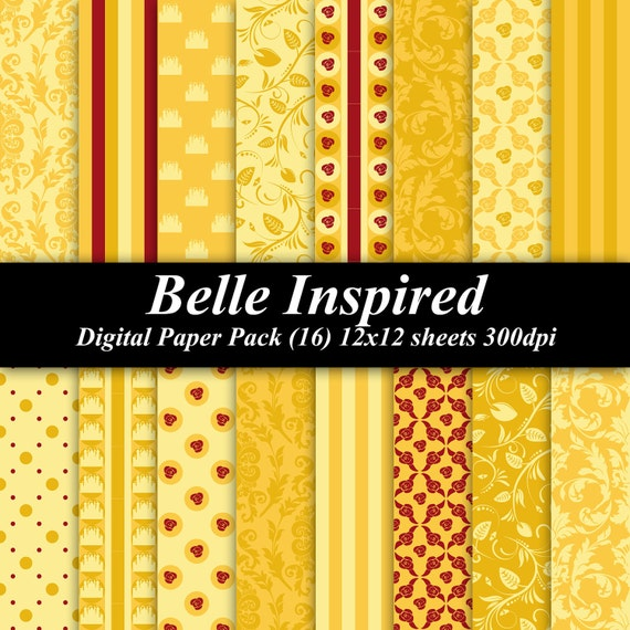 Beauty and the Beast Inspired Digital Paper Pack (16) 12x12 sheets 300 dpi scrapbook invitations birthday princess gold red