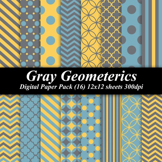 Gray Geometrics Digital Paper Pack (16) 12x12 sheets 300 dpi scrapbooking invitations wedding gray grey blue yellow