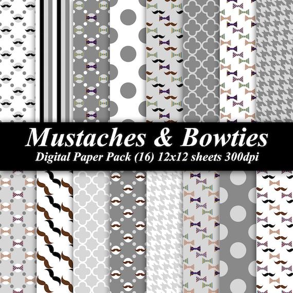 Mustaches & Bowties Digital Paper Pack (16) 12x12 sheets 300 dpi scrapbooking invitations tie gray mustache