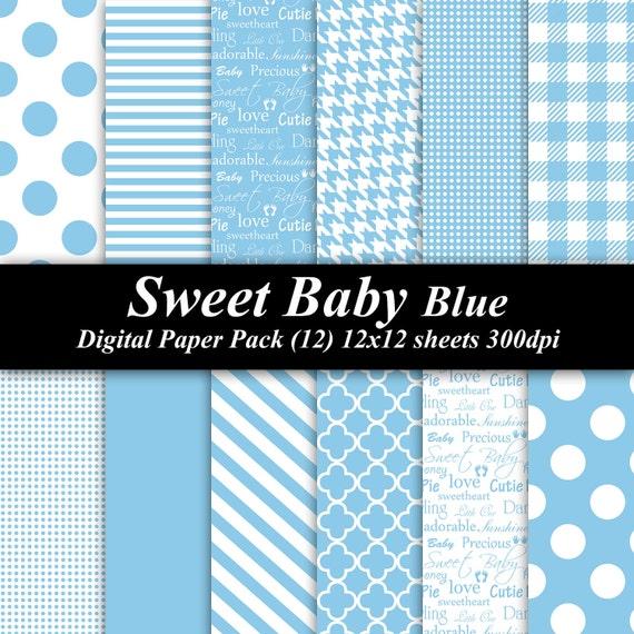 Sweet Baby Blue Digital Paper Pack (12) 12x12 sheets 300 dpi scrapbooking invitations shower baby blue boy