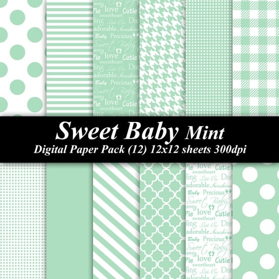 Sweet Baby Mint Digital Paper Pack (12) 12x12 sheets 300 dpi scrapbooking invitations shower baby green
