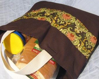 Chocolate Brown and Earth Tones Print Tote Bag