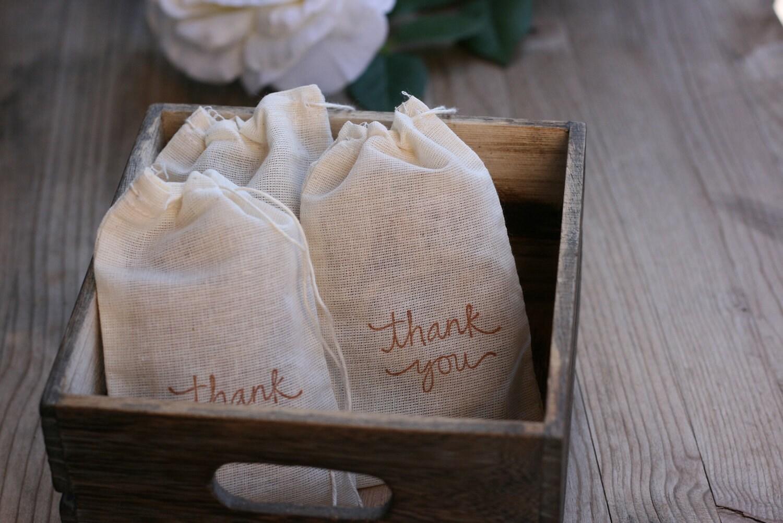 set of 24 muslin wedding favor bag NaTuRaL MuSLiN by kraftedheart