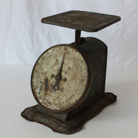 Industrial Scale, Rustic Kitchen Scale, Patina