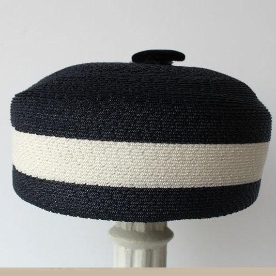 Women's Vintage Hat, Navy and White Striped Pillbox Hat