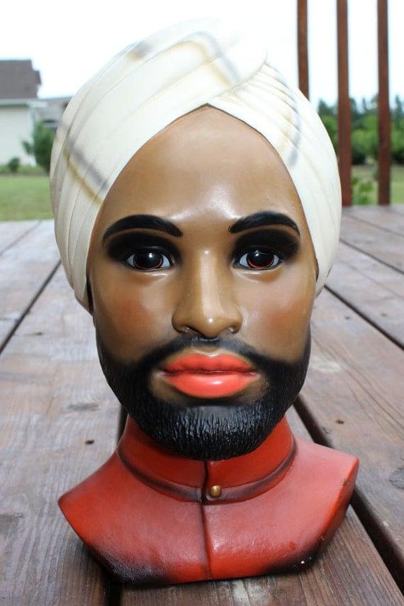 Lego Chalkware Man Bust, Eastern Indian Head, Marwal