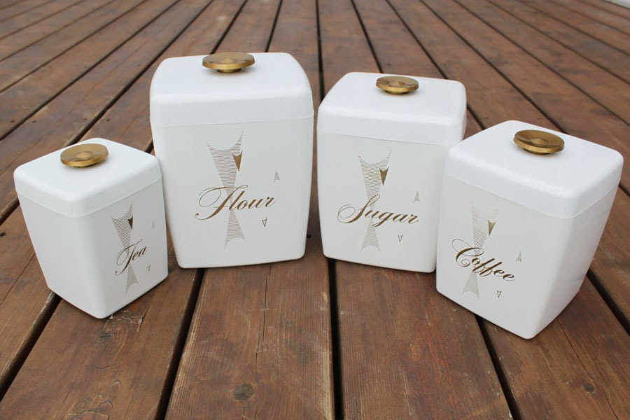 Square Canister Set 4 White Flour Sugar Coffee Tea