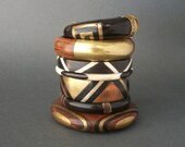 Vintage Geometric Bangle Bracelet . Black Horn and Bone .