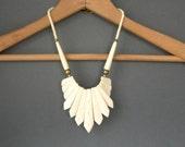 Tribal Bone Bib Necklace . Tailfeathers . Carved .