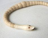 RESERVED / Antique Victorian Snake Bracelet . Ouroboros . Bone . Ruby Eyes .