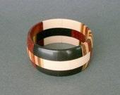 Wood Bone Bracelet. Vintage Handmade. Striped. Black White Brown.