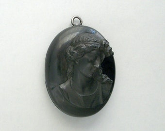 Antique Victorian Mourning Locket . Large Vulcanite Cameo .