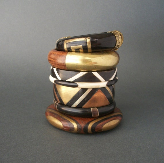 Wood Brass Bangle Bracelet . Deep Inlay . 1970s .