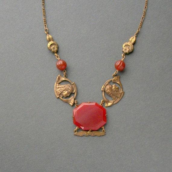 Egyptian Revival Necklace .  Art Deco . Carnelian Glass . 1920s .