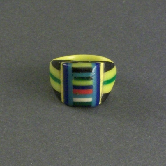 RESERVED / Down Payment / Vintage Prison Ring . MultiColored Stripes .