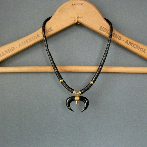 Heishi Necklace with Horns