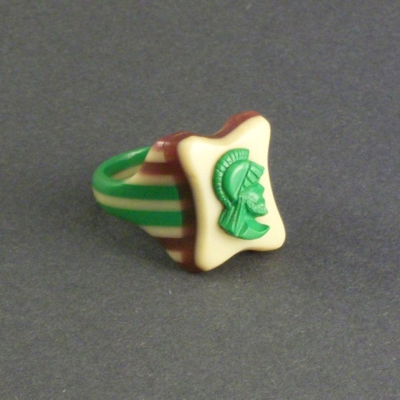 Vintage Prison Ring . Hand Carved Cameo . Stripes. Mint Chocolate .