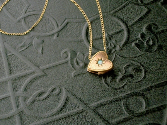 Antique Victorian Slide Necklace . Opal Heart . Gold Fill Chain .