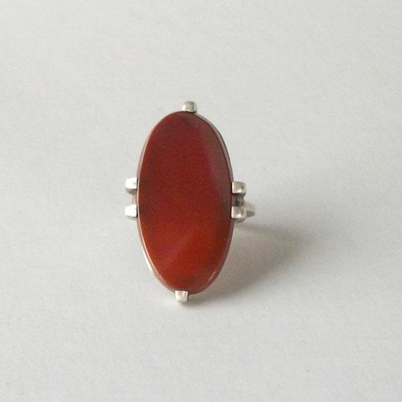 Art Deco Ring.  Sterling Carnelian Tall Oval.